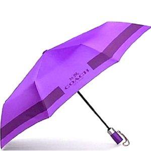 Coach Purple Lock Up Mini Umbrella New Great Gift